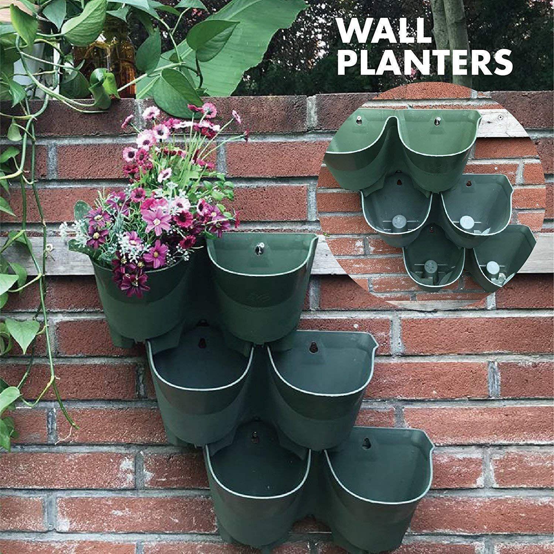 Worth Garden Indoor Outdoor Vertical Wall Hangers With Pots Each Wall Mounted Hanging Pot Has Garden Wall Planter Vertical Garden Wall Vertical Garden Planters