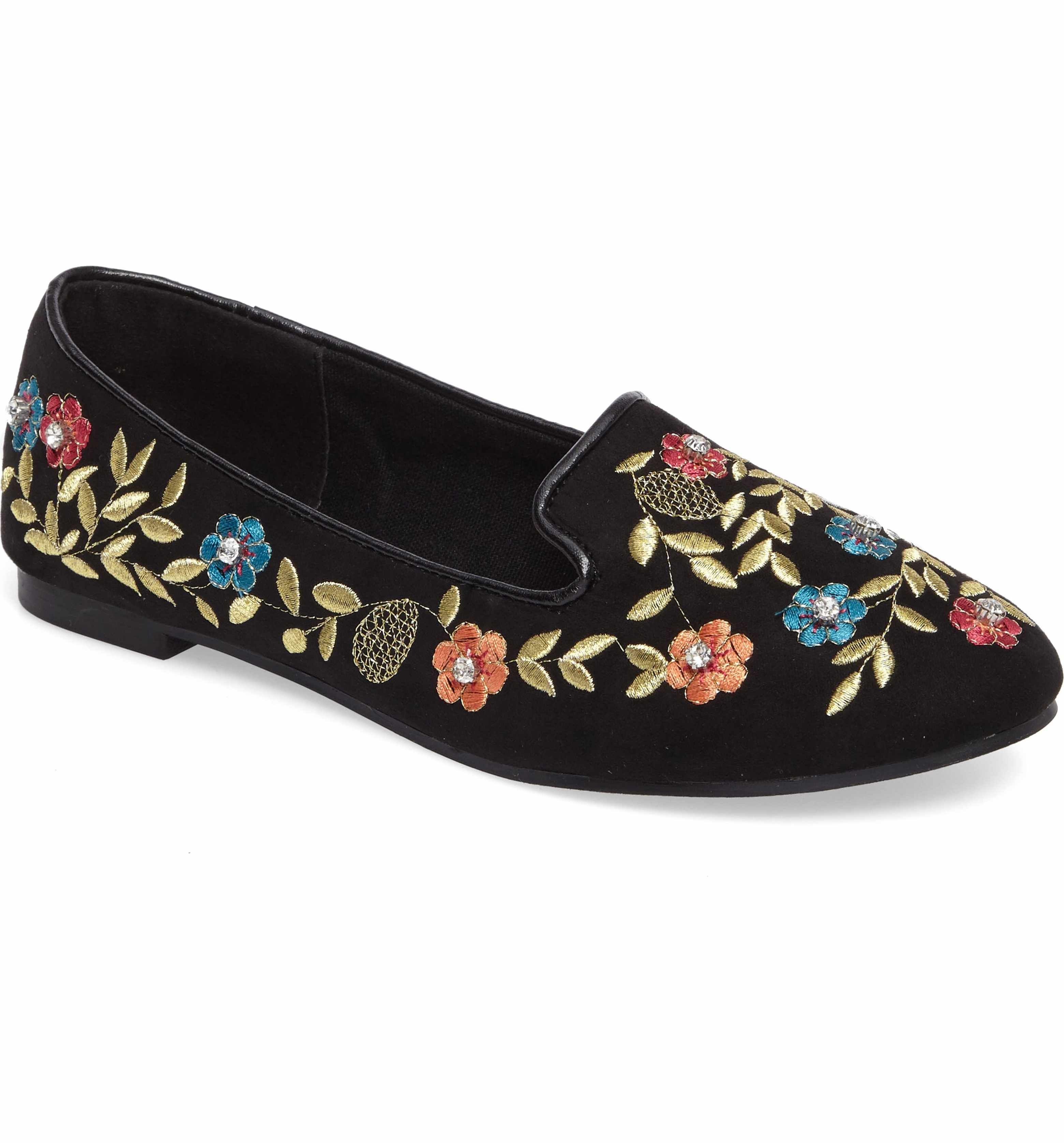Topshop SWEETIE EMBROIDERED - Mocassins noir