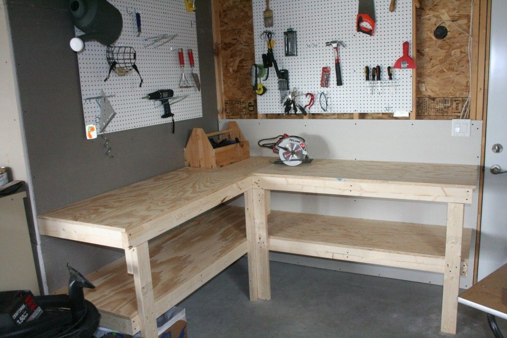 Corner workbench Garage work bench, Garage workbench