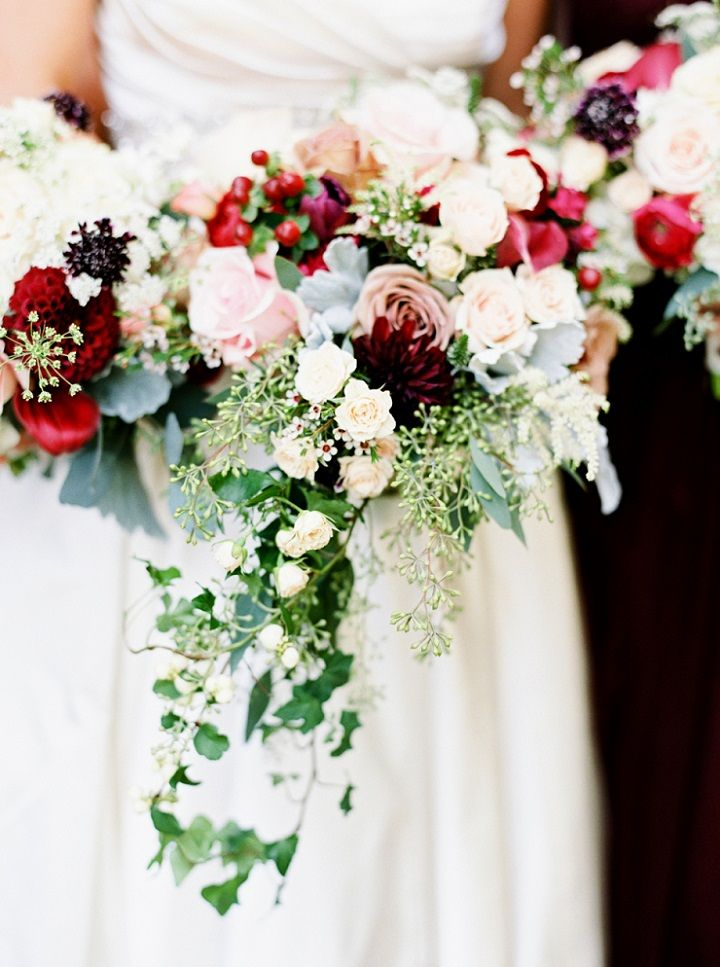 Blush and red jewel tones wedding bouquets | itakeyou.co.uk