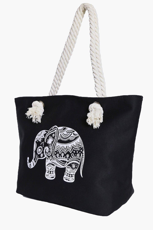 iris elephant print handle beach bag