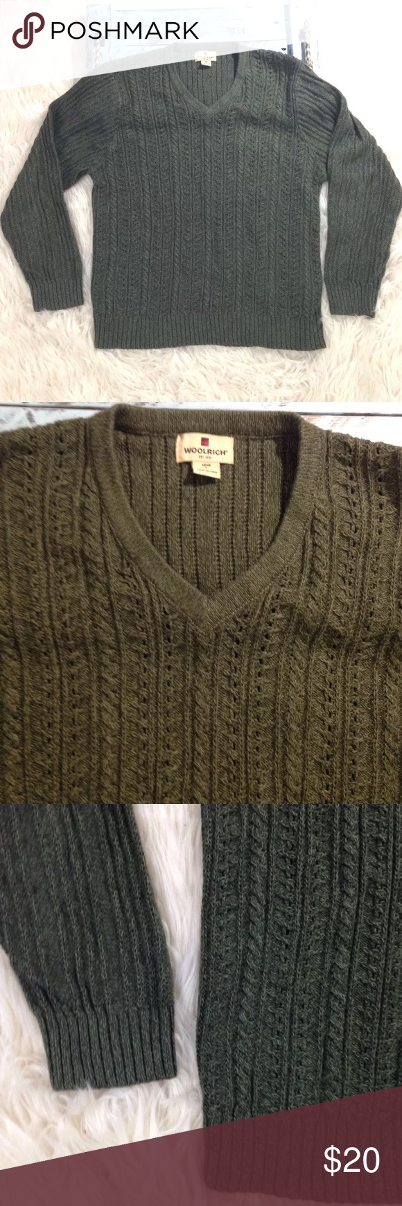 Woolrich Wool Blend Cable-knit Sweater Army Green | Army green ...