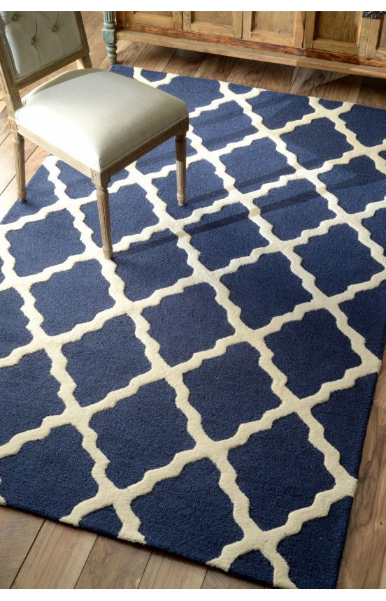 Rugs USA Homespun Moroccan Trellis Navy Blue Rug Rugs USA Summer