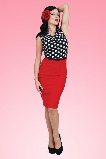 Vestido Rojo · 60s Vixen Ramona Wiggle Dress red polka ea4fb640457f