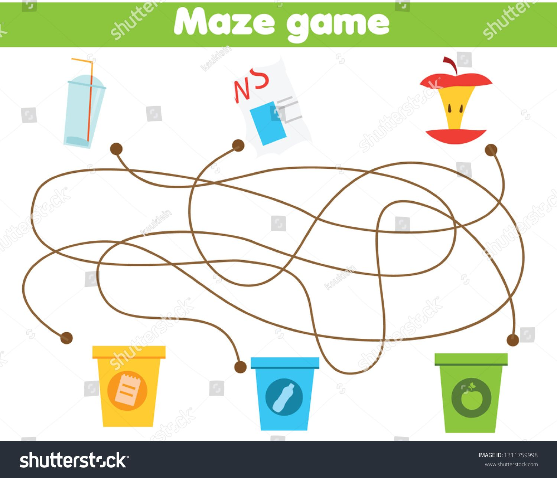 Maze Game For Children Waste Sorting Theme Sort Garbage