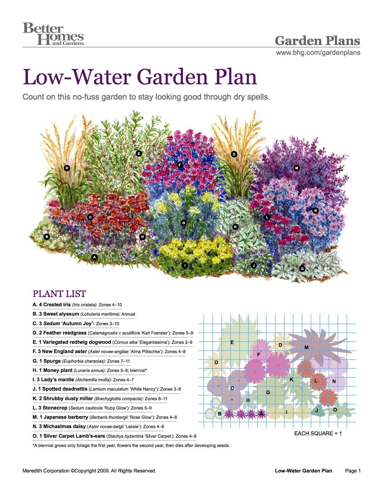 BHG Low-Water Garden Plan | Flower garden plans, Water ...