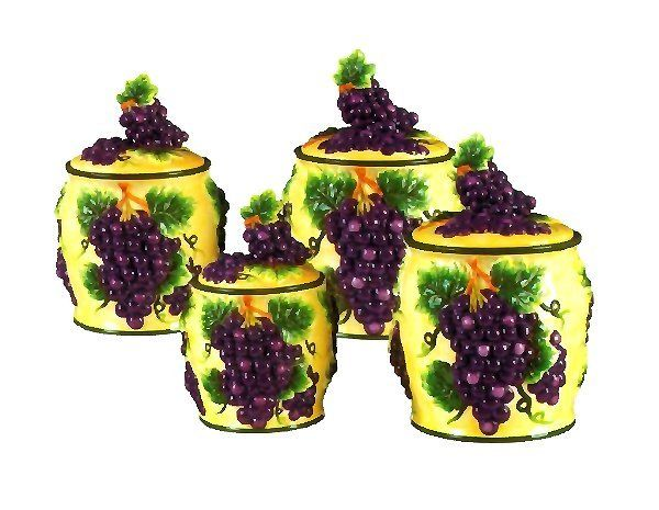 Marvelous Grape Wall Decorations | 4pc Canister Set Grape 3 D Grape Theme Collection  The Perfect .