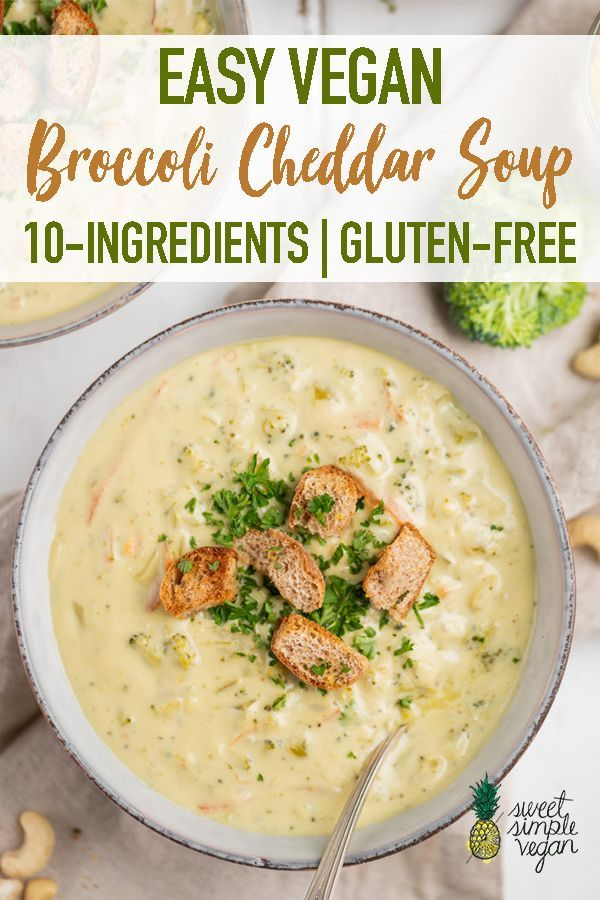 Vegan Broccoli Cheddar Soup (10-Ingredients) This is by far the BEST vegan broccoli cheddar soup that we've had! Super creamy, decadent, flavor packed AND it's made with whole food ingredients and nothing funky. Plus, it's easy to make and requires 10 simple ingredients and 40 minutes of your time!This is by far the BEST vegan broccol...