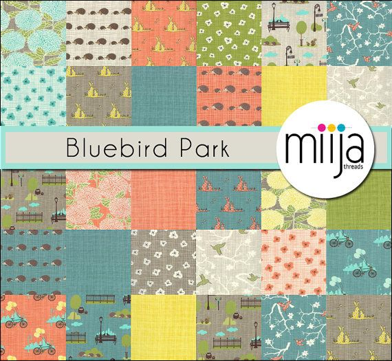 Layer Cake Fabric , Bluebird Park by Moda, Fabric Bundle, Modern ... : modern quilting fabrics - Adamdwight.com