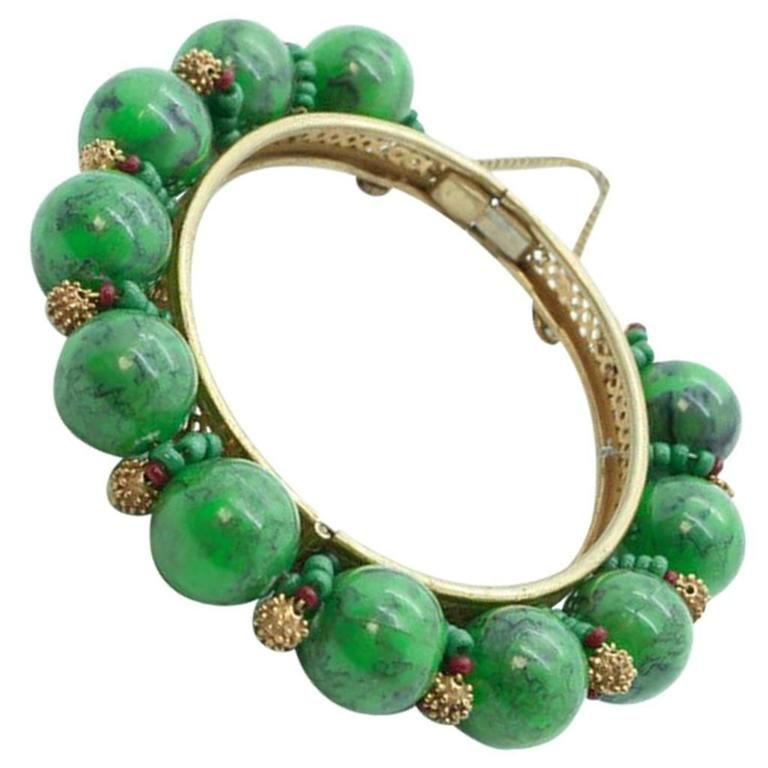 1950s Miriam Haskell Green Plastic Bead and Russian Gold Metal ...