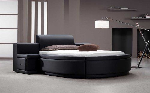 Photo of Vig Furniture Owen Black Leather Round Bed with Storage