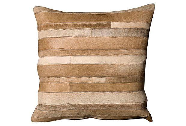 Stripes 20x20 Hide Pillow, Beige on OneKingsLane.com