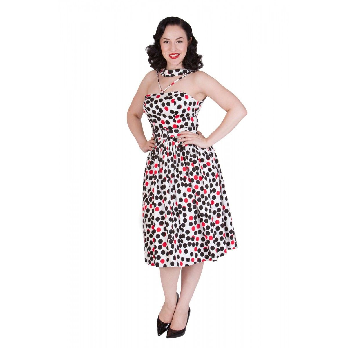 dd54125bcc1 Tatyana - Ping Pong Polka Dot Halter Swing Dress - Size XL | Swap ...