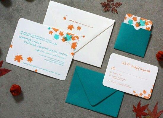 Teal And Orange Wedding Invitations Fall Ideas