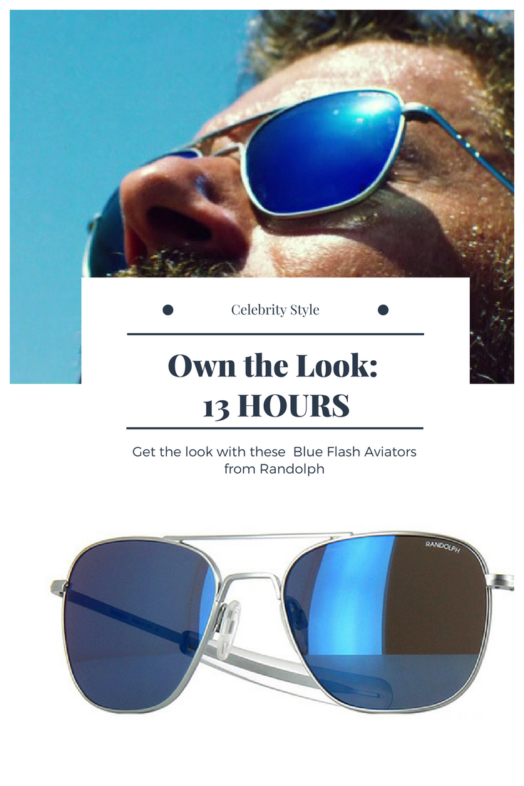 41aff1a608b Get James Badge Dale s look in 13 HOURS movie with these Blue Flash Aviator  Sunglasses from Randolph. Photo  ausCAPS