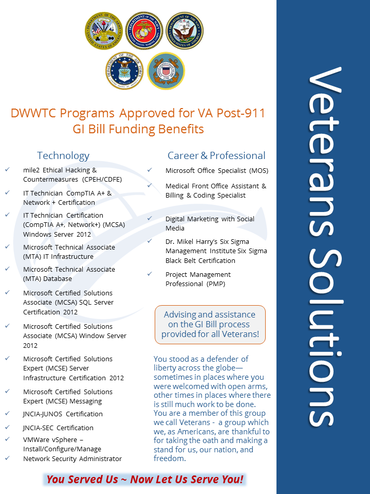 Certification programs eligible for #GIBill use provide #Veterans ...