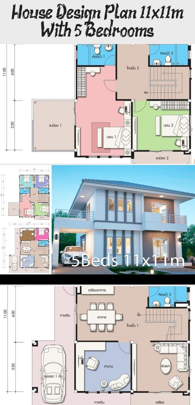 House Design Plan 11x11m With 5 Bedrooms Home Design With Plansearch Midcenturymodernhouses Simplemodernhouses In 2020 Home Design Plans House Design Modern House