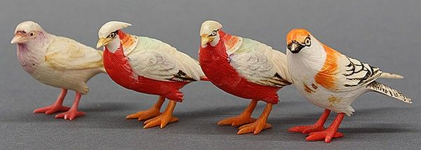 Lot Of 4 Japanese Polychrome Carved Bone Or Ivory Birds Bone Carving Polychrome Carving
