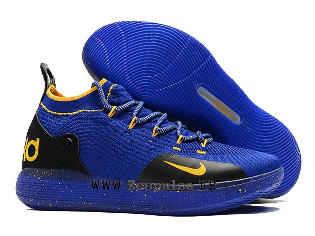 32fdda656e8 Semelle Classique Nike KD 11 Chaussures de basket sport Pas Cher Homme  Jaune bleu noir AO2605
