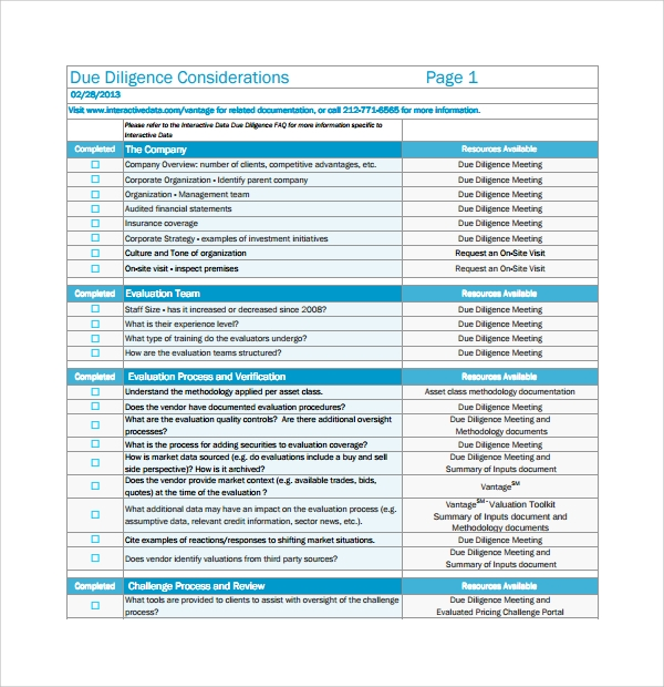 Vendor Due Diligence Report Template 9 In 2020 Report Template