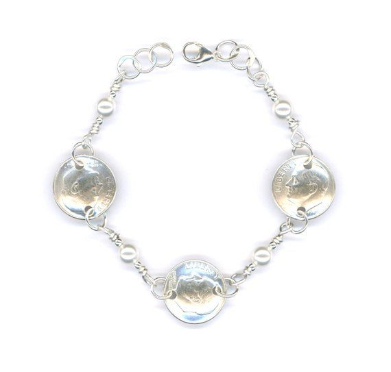 66b571aa10e30 71st Birthday Gift 1948 Dime Pearl Bracelet 71st Gift Jewelry 1948 ...