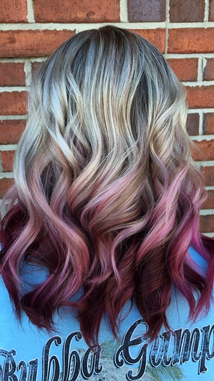 Ash Blonde Highlights To Melted Magenta Ends Colored Hair Tips