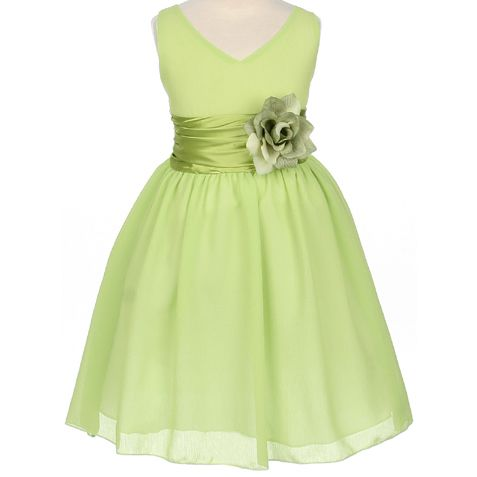 Sofie is actually a Jr bridesmaid but have to find a flower girl dress since she will only be 8 1/2..... Flower Girl Dresses - Sage Flower Girl Dresses - MB1082 - Lime Yuro Chiffon Flower Girl Dress - Isabell
