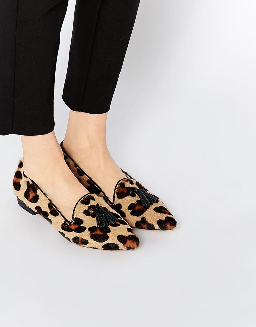 7770b2a711b River Island Leopard Print Tassel Pointed Shoe