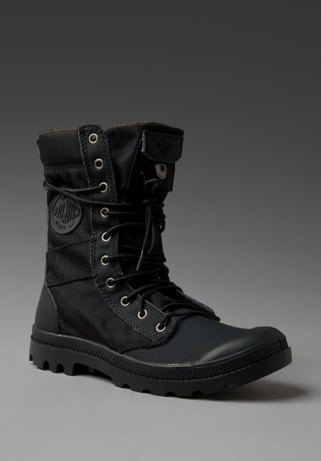 PALLADIUM Ballistic Nylon & Specialty Leather Combo Pampa Tactical in Black/ Metal at Revolve Clothing