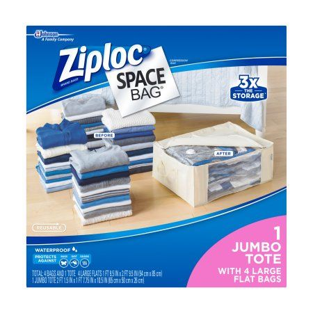 Space Saver Bags Walmart Custom Ziploc Space Bag 5 Count 4L Flat Bags 1 Underbed Tote  Walmart Decorating Inspiration
