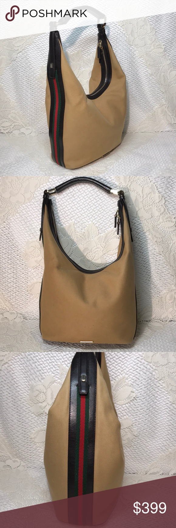 15f0bebf0fb0 Gucci Handbag Gucci Catawiki Hobo Shoulder Bag Very gently worn Catawiki  brown leather and tan canvas