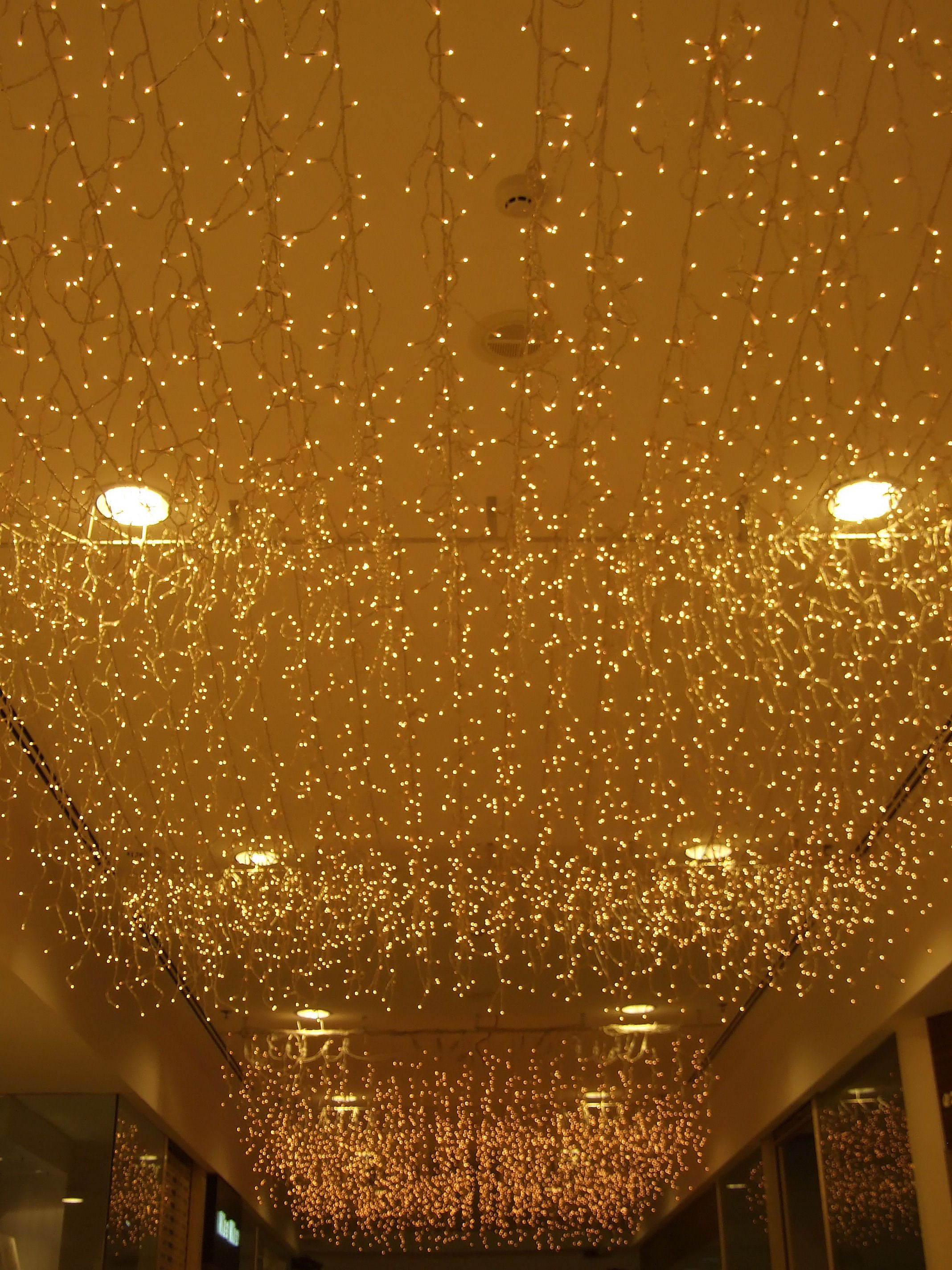 10 Decorating Ideas With Christmas Lights   christmas   Pinterest     Ceiling Christmas lights