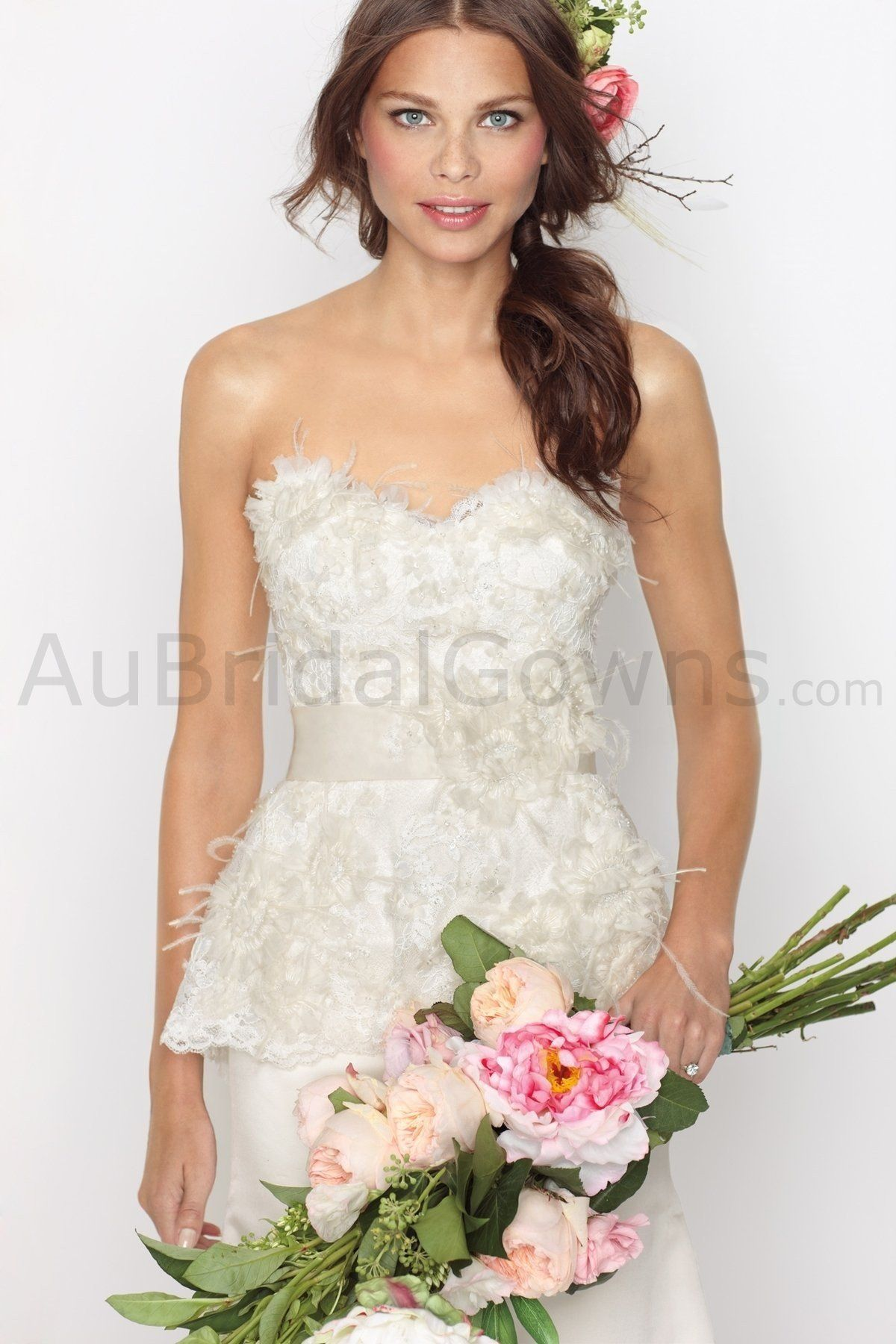 Silk sheath wedding dress  Satin Strapless Sweetheart Lace overlayed Bodice Wedding Dress