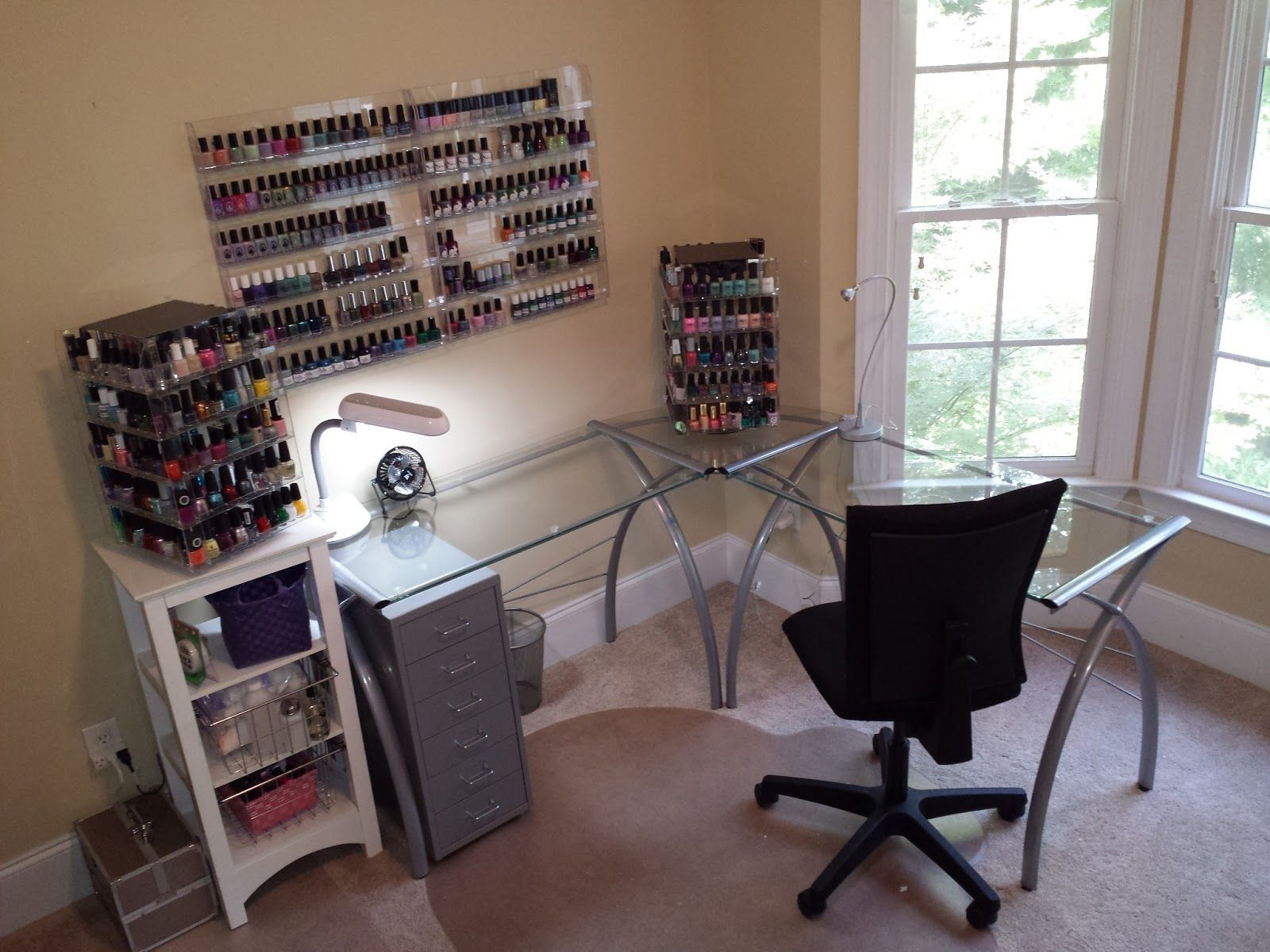 My current nail polish station at home more than 500 for Folding nail technician table