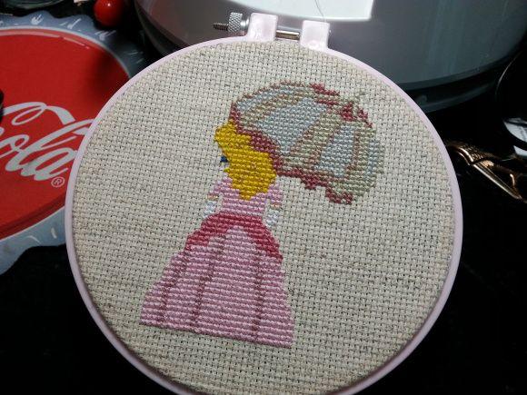 Princess Peach cross stitch with free pattern.