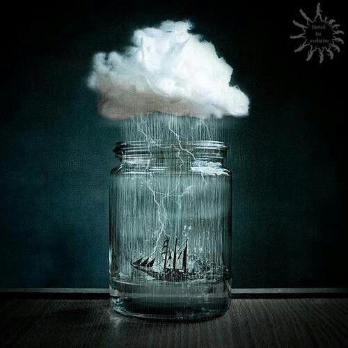 Braving The Storm In A Mason Jar Photo Manipulation Creative Photos Surreal Art