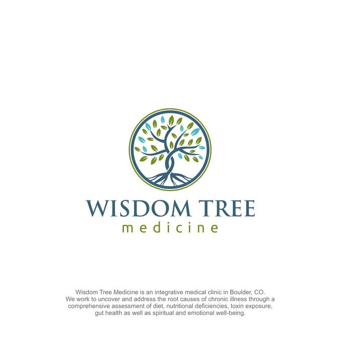 Design a modern organic tree logo for holistic medicine