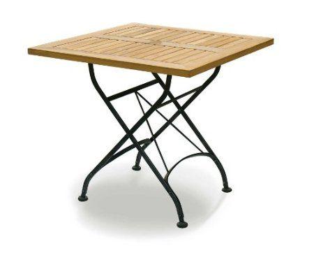 French Bistro Table Teak Square Restaurant Table 80 X 80cm: Amazon.co.uk