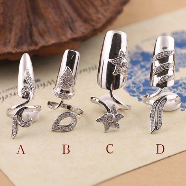 107e7799e0a45 Retro Flower Fingernail Ring 925 Sterling Silver Nail Ring | Jewelry ...
