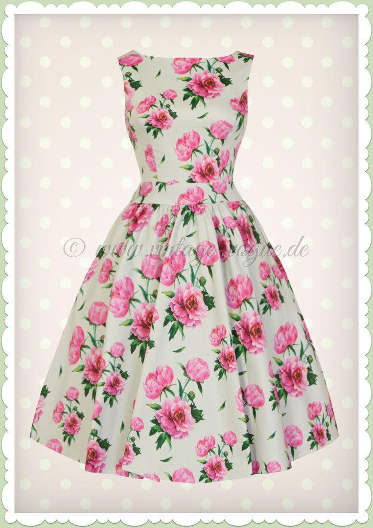 Lady Vintage 12er Jahre Retro Blumen Kleid - Tea Dress