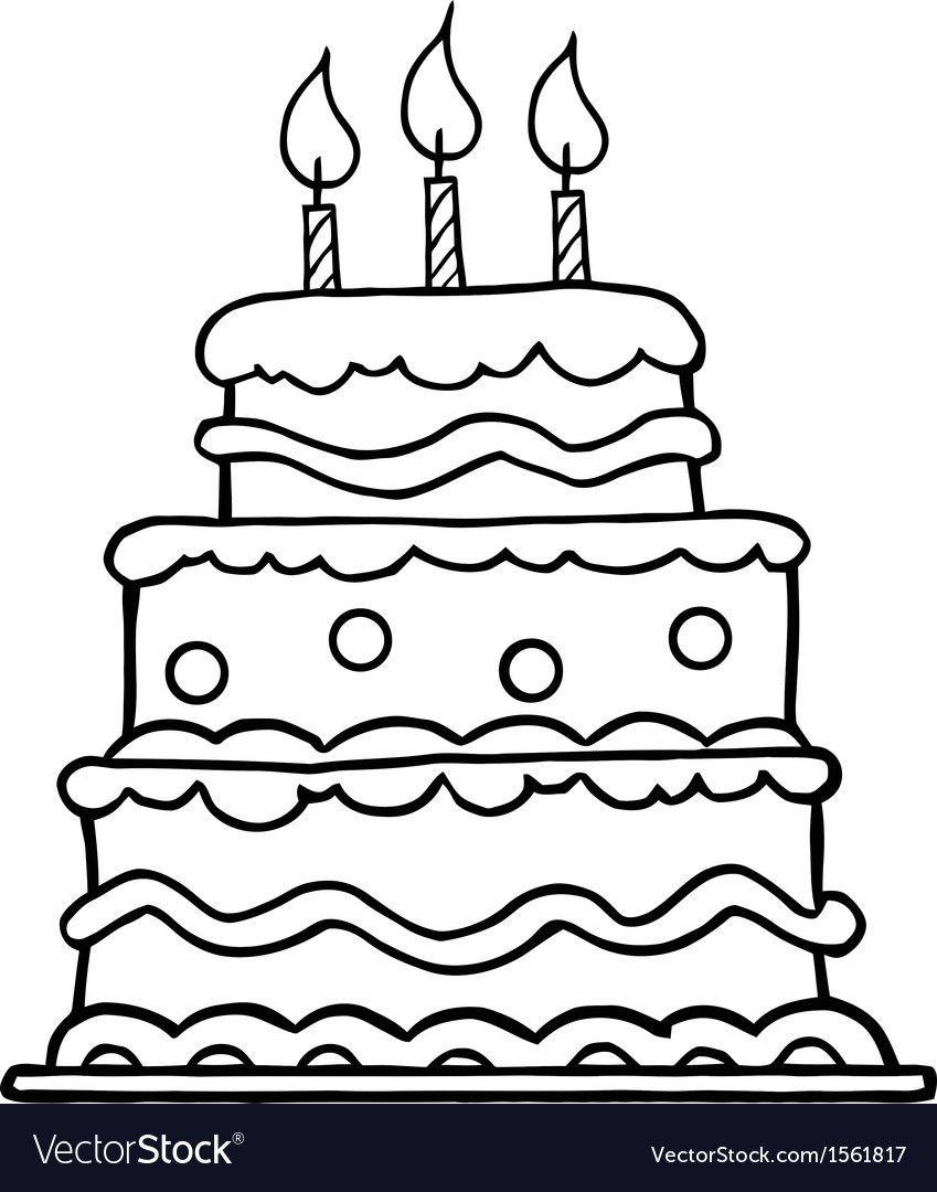 Birthday Cake Cartoon Vector Image On Cake Drawing Birthday