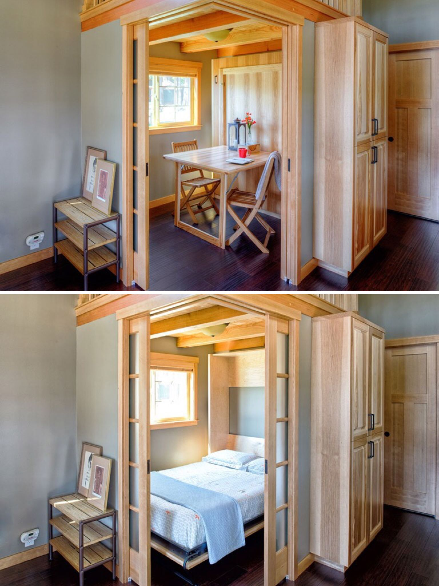 Murphy bed fold up table in  sq ft park model home bellingham wa and check out those pocket doors wildwood tiny house swoon homes also down combo future pinterest rh