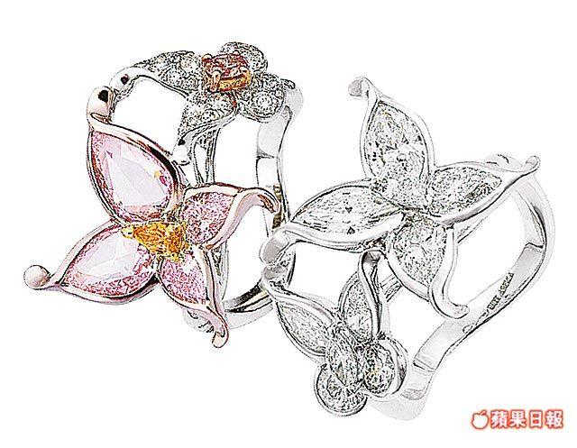 林青霞已收藏134萬2000元雙蝶粉鑽戒指(左)與48萬1900元雙蝶白鑽戒指。