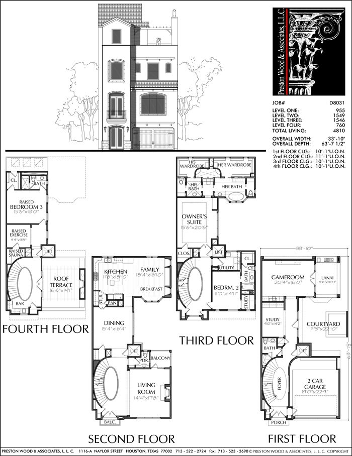 3 1 2 Story Townhouse Plan D8031 Floor Plans Row House House Floor Plans