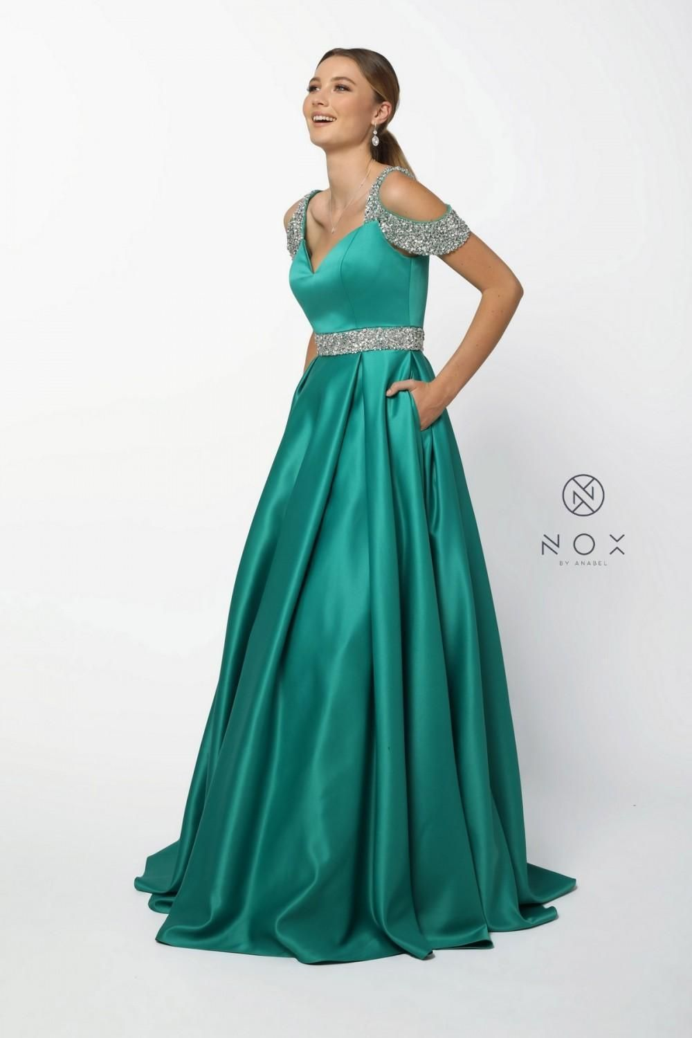 1d2a4e6b588 N R224 - Satin Ballgown With Beaded Belt and Straps in 2019
