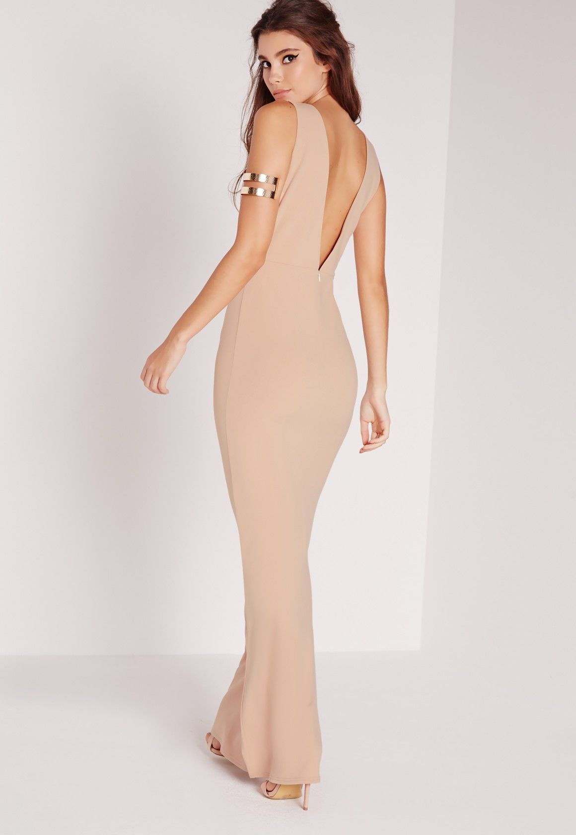 Low back maxi dress nude bridesmaid pinterest missguided