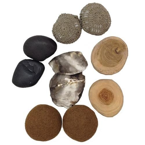 Sensory Activity Play Pack allows kids to explore their senses as they reach into the muslin bag and touch natural stones, wood, felt balls, and bean bags. Includes two of each object. Children learn to identify and describe what they feel.