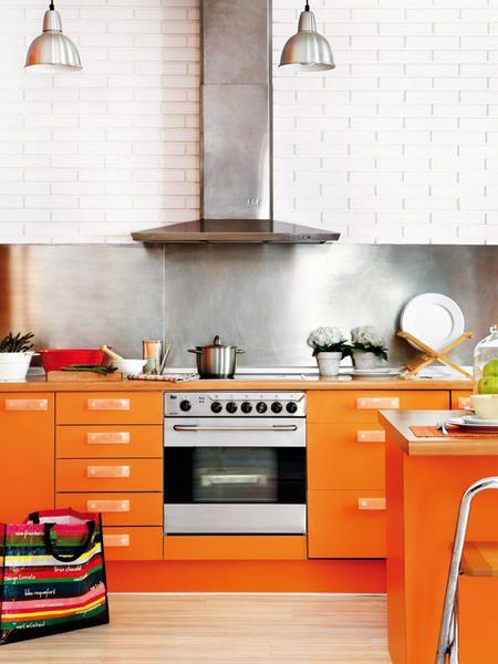 Moderna Cocina Color Naranja, Abierta y Luminosa | Ideas para el ...