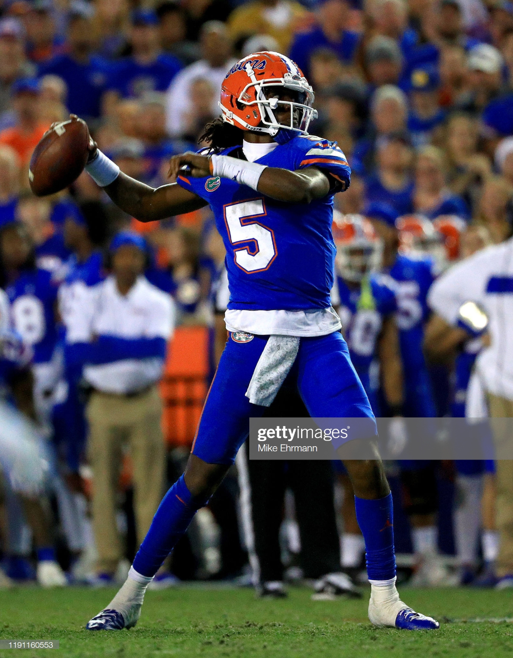 Emory Jones of the Florida Gators passes during a game