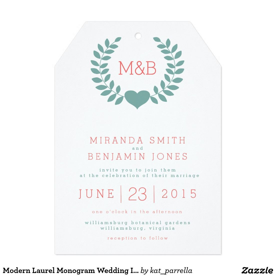 Modern Laurel Monogram Wedding Invitation | Pinterest | Wedding ...